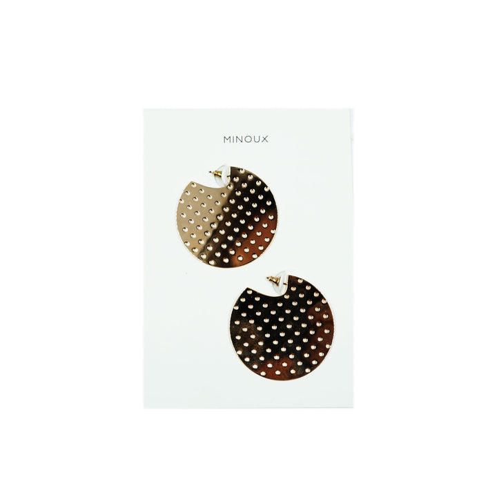 Gold Perforated Disc Earrings by Minoux