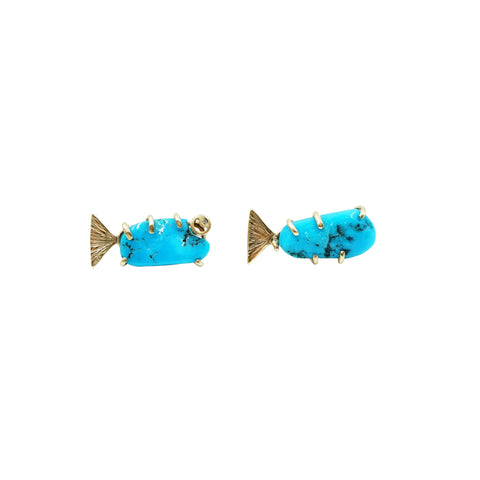 14k Yellow Gold Turquoise + Diamond Fish Earrings