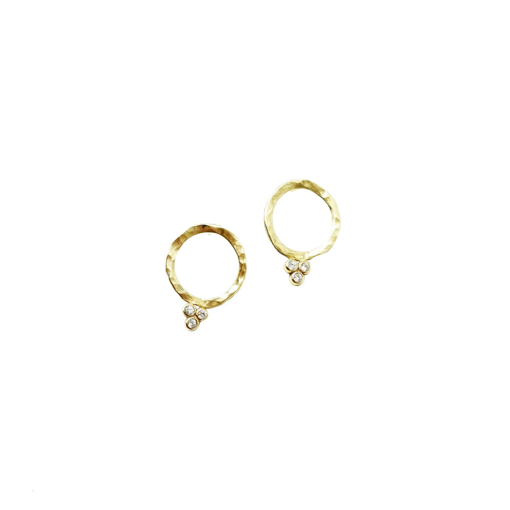 10K Yellow Gold + 3 Moissanites Earrings Nested Yellow