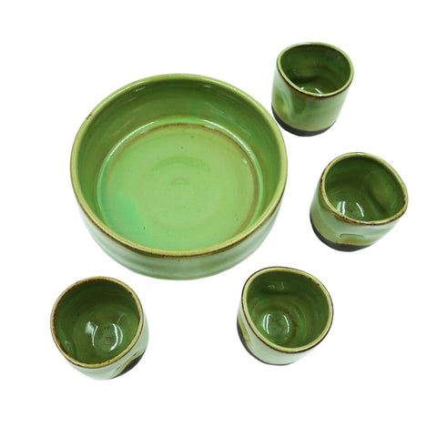 Wheel-Thrown Meadow Cup & Tray Set
