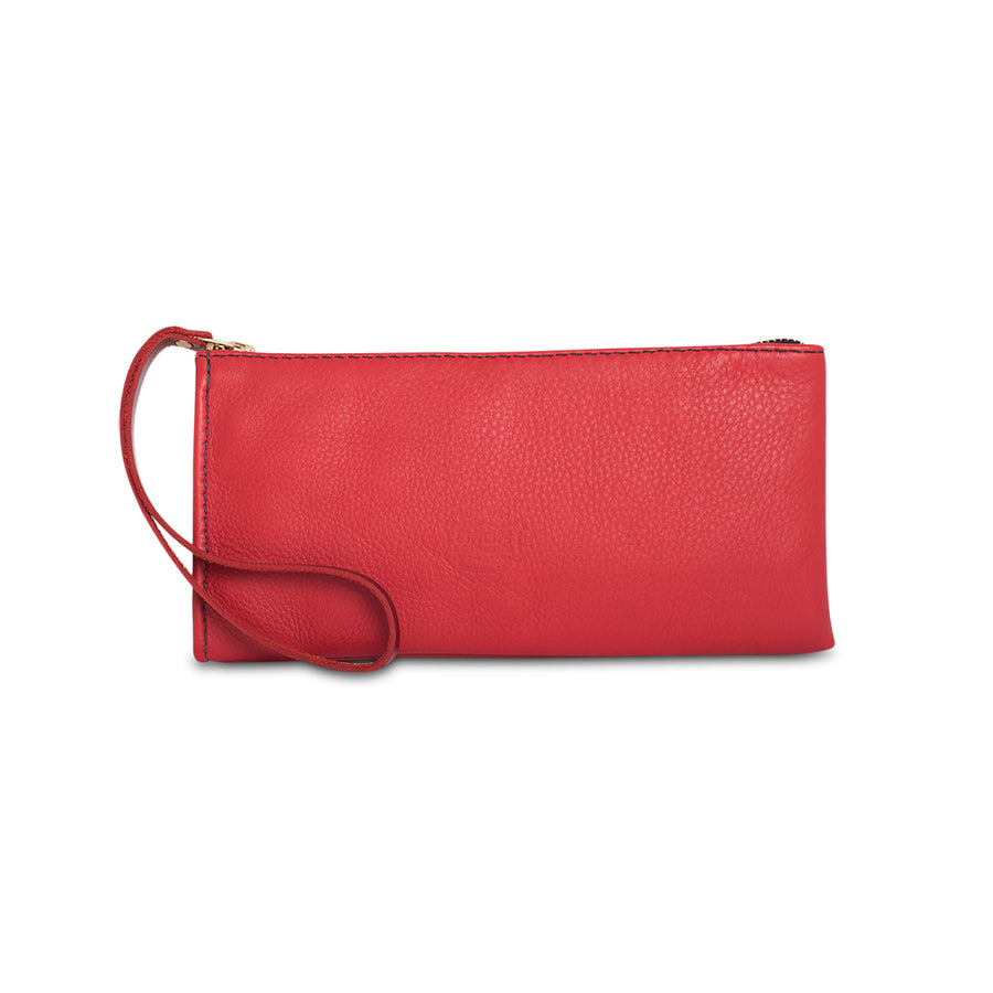 Orox Red Leather Zipper Pouch
