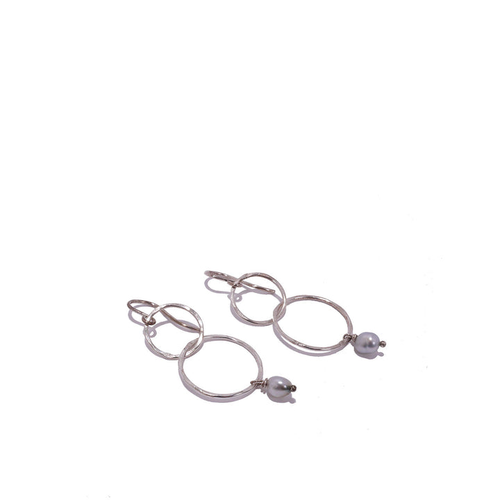 Double Hoop Keshi Dangle Earrings
