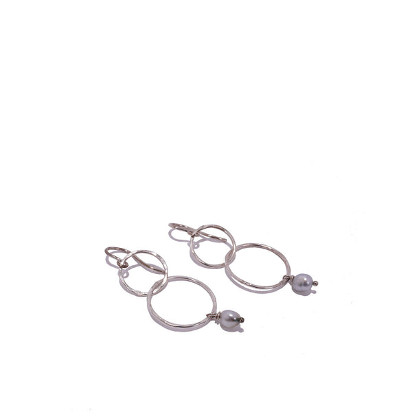 Double Hoop Keshi Dangle Earring By Kamoka