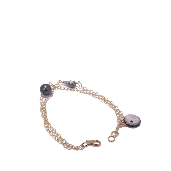 Double Chain Keshi Bracelet by Kamoka
