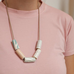 Blush/Marble Ceramic Bead Necklace The Pursuits of Happiness
