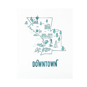 Downtown Seattle Doodle Small Print by Pike Street Press