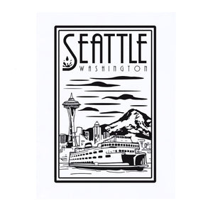 Seattle Lino Large Print by Pike Street Press