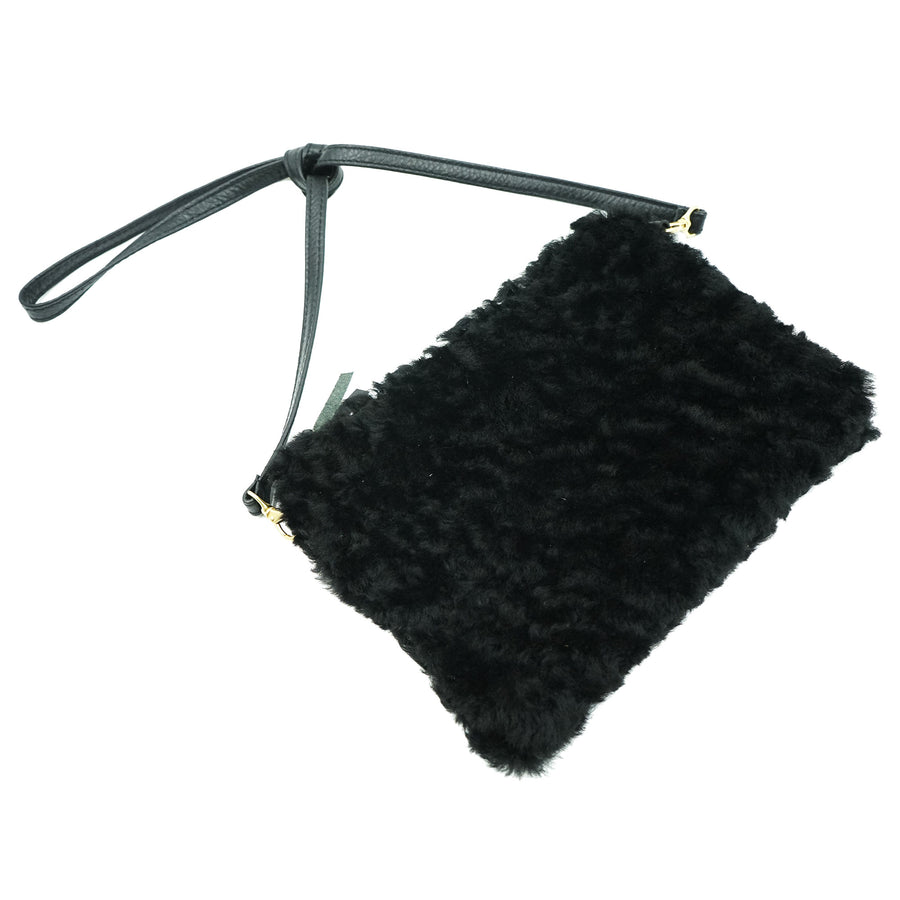 Primecut Pouch Purse Black Shearling