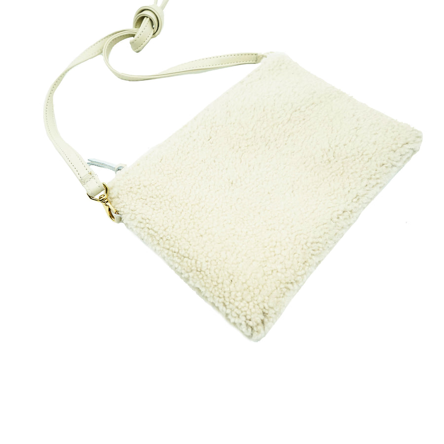 Primecut Pouch Purse Ivory Shearling