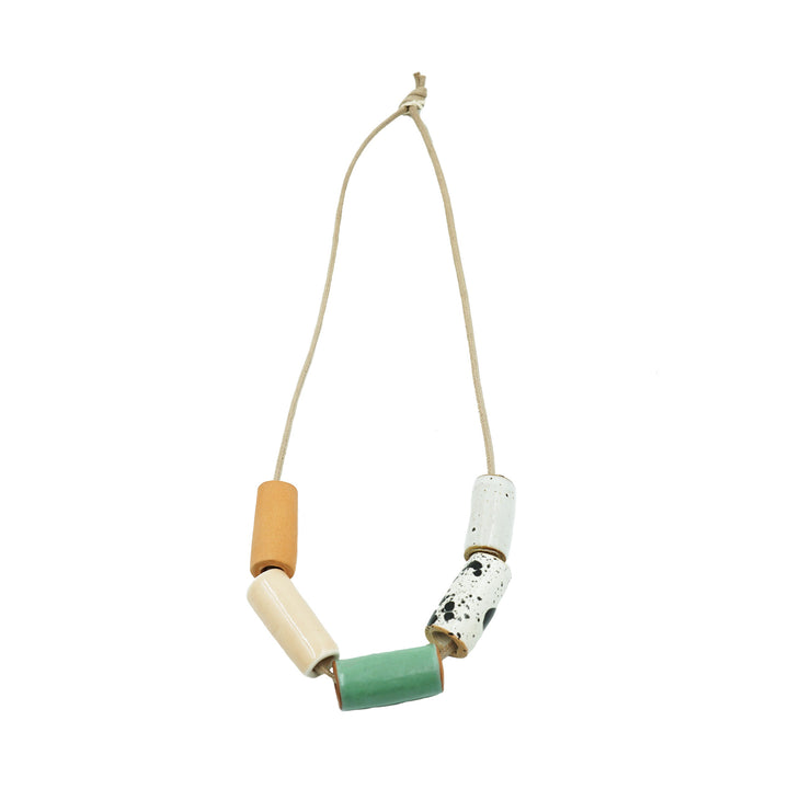 Blush/ Seafoam Ceramic Bead Necklace by The Pursuits of Happiness