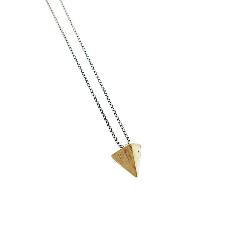 Bronze Sculpture Triangle Necklace Silver Chain by Revere Metal