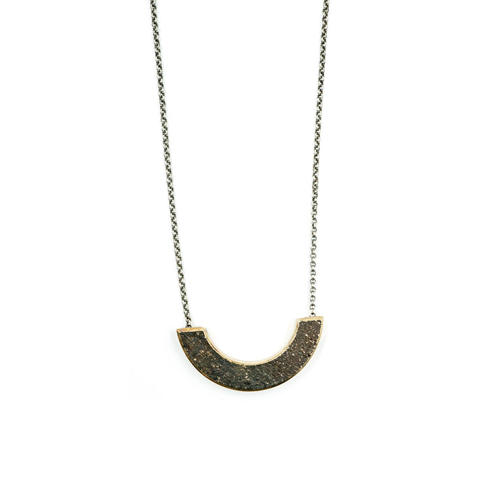 Lrg Bronze Sculpture Necklace on Silver