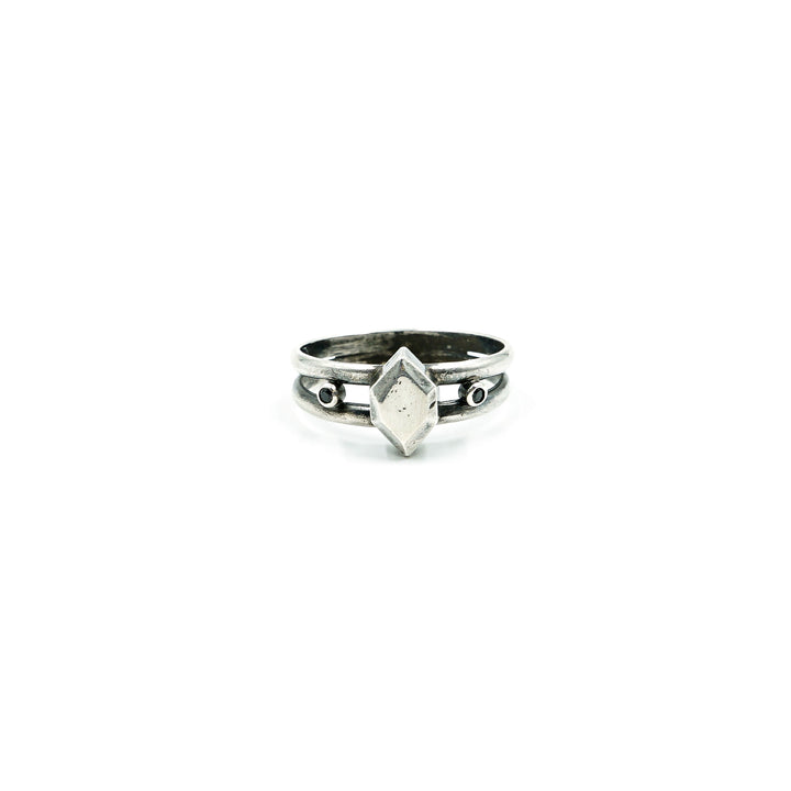 Sterling Gem Ring with Black Spinel