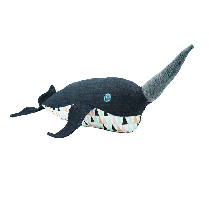 Sweet Bonny Denim Narwhal Toy Made in Portland