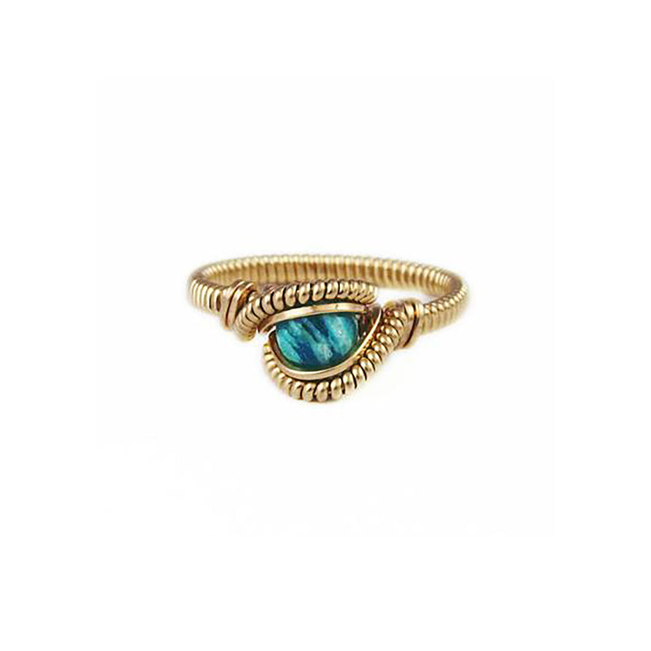 Amazonite & Yellow Gold Wire Wrapped Ring by Third Eye Assembly