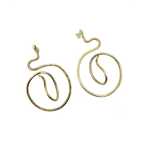 Brass Snake Earrings by Tiny Asteroid