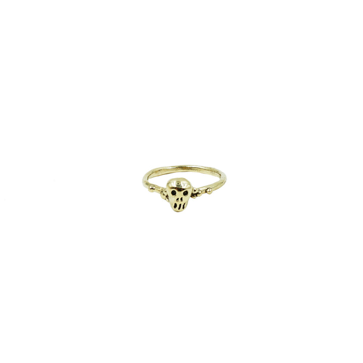 Mini Skull Ring Brass by Tiny Asteroid Jewelry