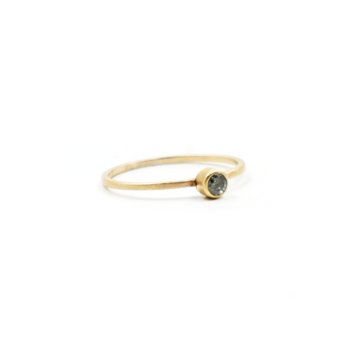 1mm Salt & Pepper Diamond 14K Gold Ring by VK Designs