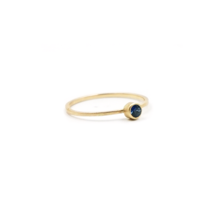 3mm Blue Montana Sapphire 14K Gold Ring by VK Designs