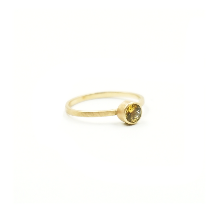 4.5mm Yellow Montana Sapphire 14K Gold Ring by VK Designs