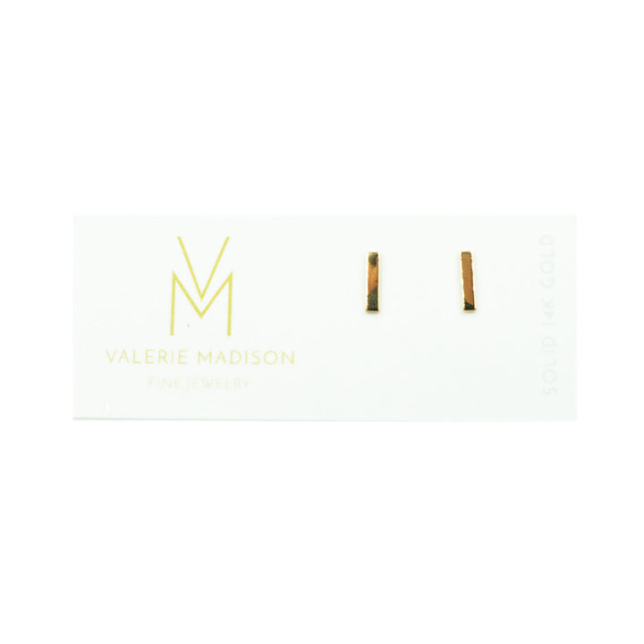 Yellow Gold Bar Studs by Valerie Madison