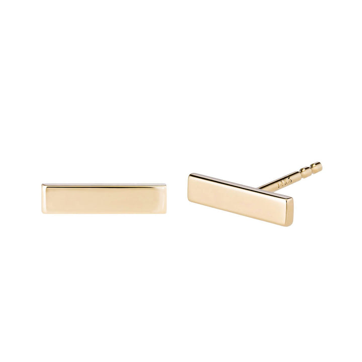 14k Gold Bar Studs by Valerie Madison