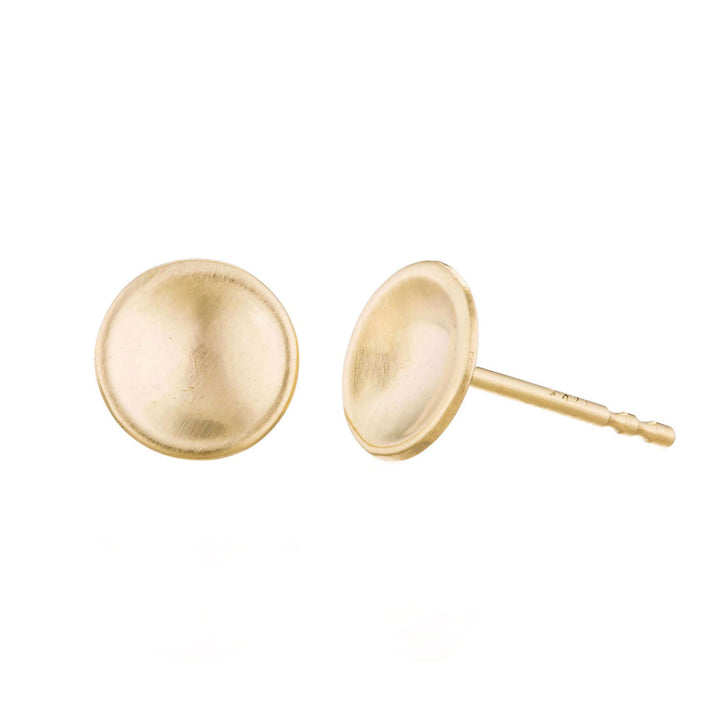 Gold Concave Circle Studs by Valerie Madison