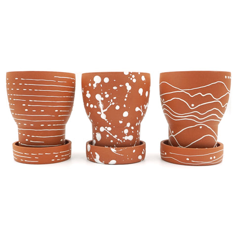 Small Ceramic Chalice Planter + Tray