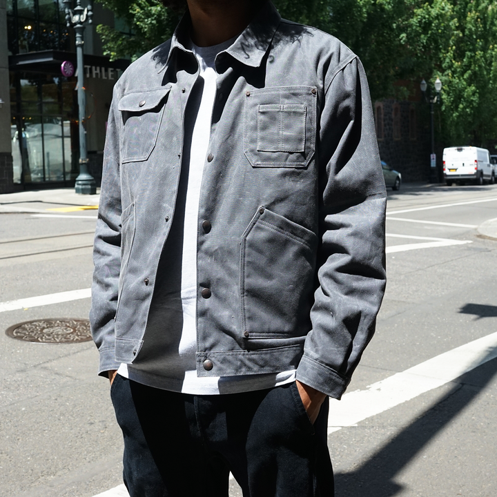 Wild Quimby Waxed Jacket Charcoal