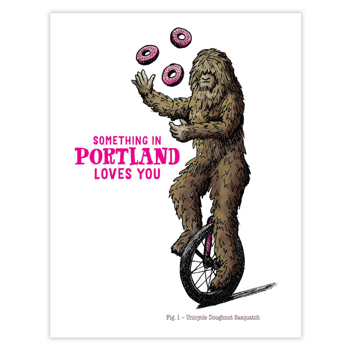 Portland Unicycle Doughnut Sasquatch Card by Waterknot