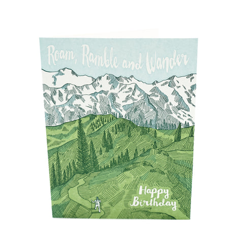 Roam Ramble and Wander Birthday Card