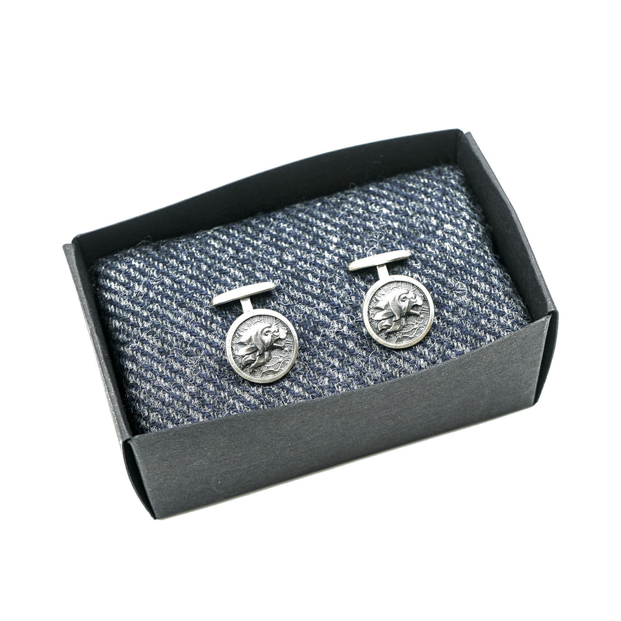 Sterling Silver Cufflinks Lion by Wildwood & Company