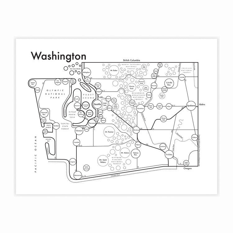Washington Map by Archie's Press