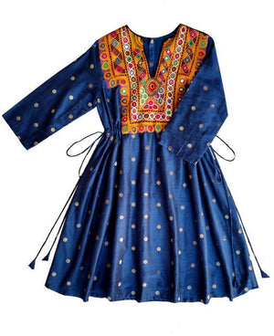 Handcrafted Vintage Mirror Work Drawstring Kaftan in Navy Blue - Mogra Designs