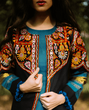 Handwoven & Hand Embroidered Mirror Work Tribal Cropped Jacket in Wool - Mogra Designs
