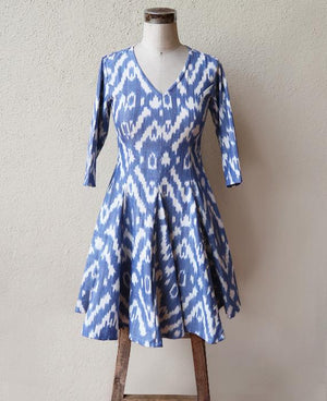 Handwoven Blue & White Ikat Fit and Flare Dress - Mogra Designs