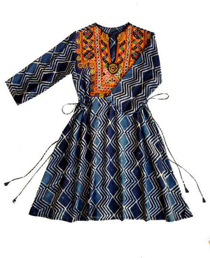 Handcrafted Vintage Mirror Work Drawstring Kaftan in Block Printed Indigo - Mogra Designs