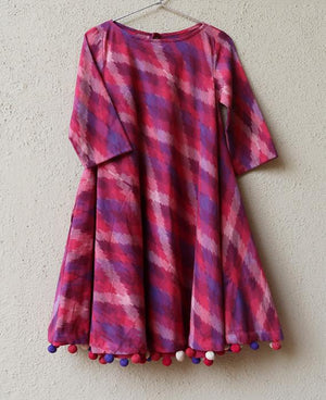 Handwoven Ikat Swing Dress with Handmade Pompoms - Mogra Designs