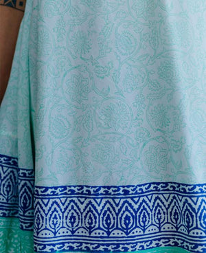 Pastel Mint Blue Hand Block Printed Swing Dress - Mogra Designs