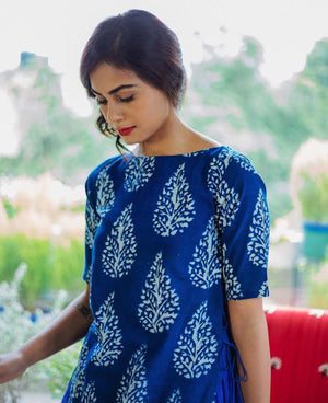 Indigo Hand Block Printed Maxi Dress and Cotton Skirt - Mogra Designs