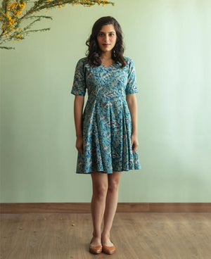 Pastel Block Printed Fit and Flare Dress - Mogra Designs