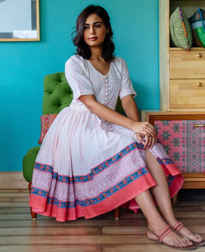 Pink and White Floral Hand Block Printed Fit & Flare Dress - Mogra Designs