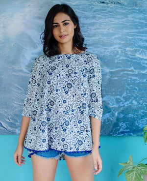 White & Midnight Blue Block Printed Top with Handmade Pompoms - Mogra Designs