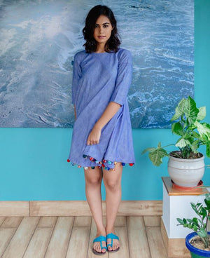 Handwoven Khadi Swing Dress with Handmade Pompoms - Mogra Designs
