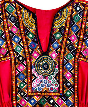 Handcrafted Vintage Mirror Work Drawstring Kaftan in Red - Mogra Designs