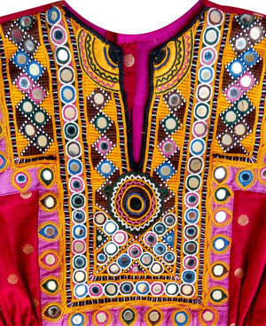 Handcrafted Vintage Mirror Work Drawstring Kaftan in Red & Gold - Mogra Designs