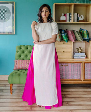 Pastel Yellow Hand Block Printed Maxi Dress and Pink Cotton Skirt - Mogra Designs