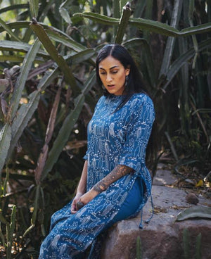 Fish Block Printed Dress Over Pants Set in Blue - Mogra Designs