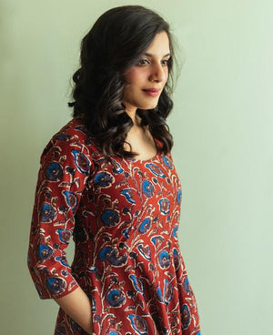 Red and Blue Block Printed Fit and Flare Dress - Mogra Designs