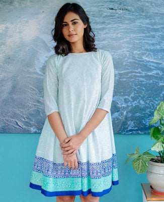 06a16fca94d0 Pastel Mint Blue Hand Block Printed Swing Dress - Mogra Designs